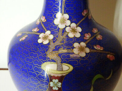 Alte Cloisonne Vase Email Top Blumen Flower alt China Asiatica 5