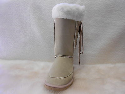 Ugg Boots Tall, Synthetic Wool, Lace Up, Size 8 Lady's/Men's 6 Colour Beige