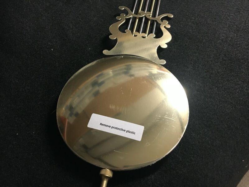 "Quartz Battery Clock Lyre Pendulum Brass 4 1/2"" Diameter Bob Single Hook 3"