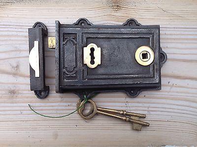 Victorian Style Davenport Cast Iron & Brass Rim Lock ~ Door knobs & Escutcheon 3