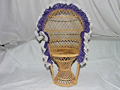 """Large 16"""" Peacock Style Wicker Rattan Chair Doll Furniture Purple & White Lace 7"""
