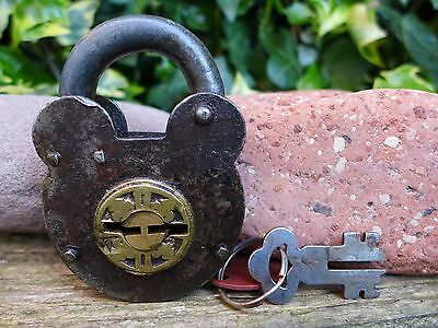Antique Vintage Padlock with one key, working order, hobby, collector 05 2