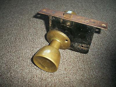 Vintage Antique Door Lock With 2 Brass Knobs Handles 4