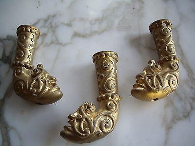 Victorian Rare Brass Furniture Ornate Art Deco Monster / Devil Face Brass Feet 9