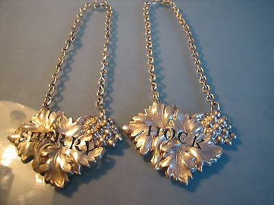 Pair white metal pierced leaf decanter or bottle ticket labels HOCK & SHERRY