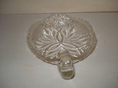 Vtg Flower Burst Abp Clear Cut Glass Nappy Dish Etched Flowers Sgl Loop Handle 4