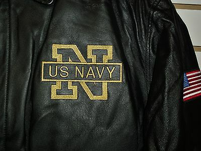 U.S. NAVY Leather Jacket sz Small /XS Black double sided $150 Armed Forces Coat 5