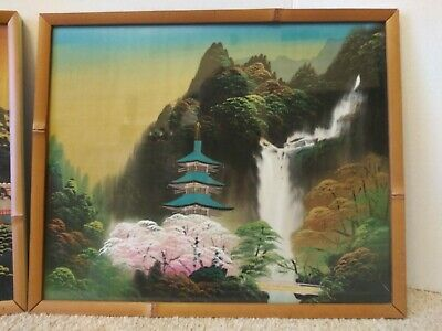 2 Antique Asian Framed Hand Paintings On Silk Behind Glass Bamboo Type Frame 3