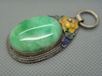 Collectibles Old Decorated Handwork tibet Silver Inlay Jade cloisonne Pendant01 11