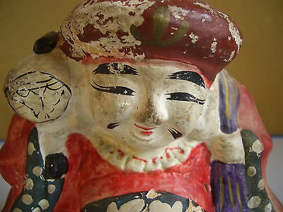 Japan vintage clay doll Mahakala One of the Seven Lucky Gods antique #12104 2