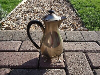 Art Deco Silver Plated Hot Water Jug  Bakelite handle & finial & four claw feet. 4