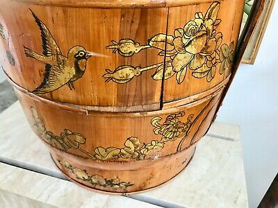 "Antique 21"" Chinese Bamboo and Wood 1858 Wedding Basket with Chinese Lady 11"