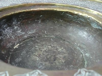 Antique Islamic / Ottoman / Persian  Arabic Copper or Brass hand wash dish bowl 10 • CAD $1,066.07