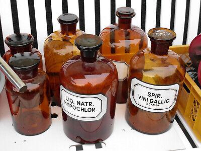 alte Apothekerflasche Braunglasflasche Apotheke 14 cm hoch  250 ml  mit Stopfen 3