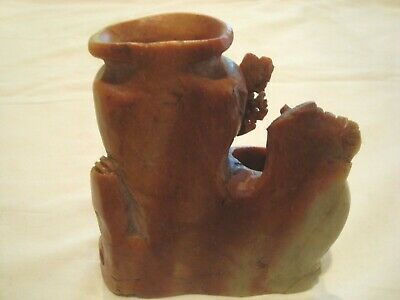 "A Beautiful Hand Carved Piece Ofsoap Stone  Marked Ward And China 5"" X 5"". 2 Vas 2"