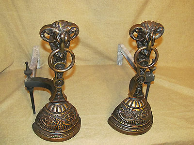 Pair Antique Victorian Bronze Rams Head Form Andirons Aesthetic 2