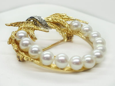 Designer Vintage 1960s Estate Pearl Diamond 14k Yellow Gold Wreath Brooch Pin 2