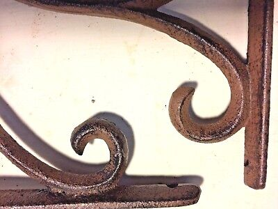SET OF 4 LARGE RUSTIC  BROWN SCROLL BRACE/BRACKET vintage looking patina finish 7