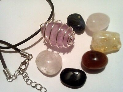 Collana con RODONITE cristalloterapia pietre minerali chakra argento zen yoga Ki