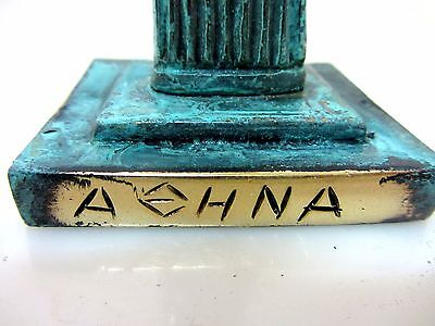 Ancient Greek Bronze Museum Statue Replica Athena Wth Shield & Owl Collectable 3