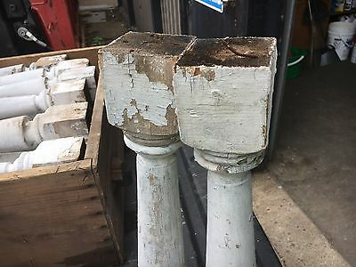 """c1900 Victorian chunky porch baluster spindles set of 4 - 18 1/8"""" x 2 7/8"""" sq 8"""