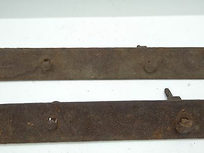 Antique Old Metal Wrought Iron Large Barn Door Straps Stamped Nanty Glo No 2 PA 11
