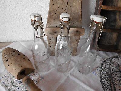 Dänemark Shabby Deko Glasflaschen Flasche Antik Denmark Alt 3 Stück 🌷🌷🌷 4