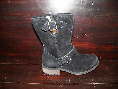 e1b1654ce3f NEW WOMENS UGG Chaney Black Water Resistant Suede Shearling Buckle Moto Boot