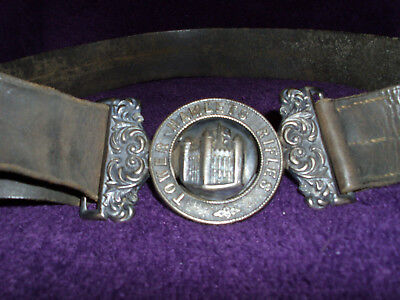Rare Victorian Silver Tower Hamlets Rifles Officers Belt Buckle & Belt/Militaria 4