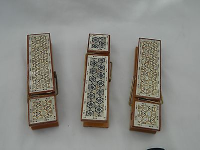 2 Small /& Big Egyptian Inlaid Wooden Paper Clip Mother of Pearl