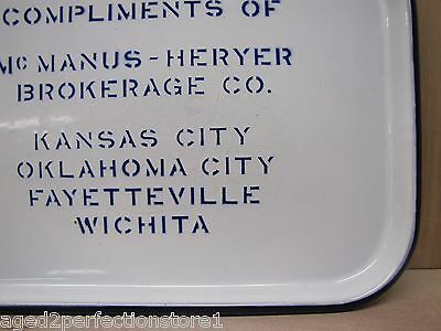 Antique McManus Heryer Brokerage Co Enamel Porcelain Tray advertising sign old