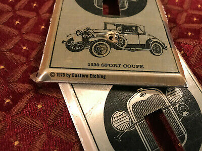 2 Ford NOS 1930 Sport Coupe Light Switch Cover Plates, Dated 1978, Free S/H 2