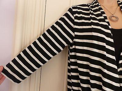 Wallis size 12 black and white striped jersey faux wrap top black vest 2