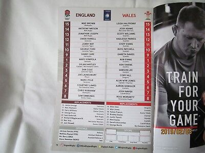 England v Wales. Rugby Union. Twickenham. Programme + Event Tickets. 2