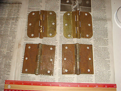 "4 Vintage Brass Plated Button Hinges 3 & 1/2"" , 2 pairs, Very Nice Old Hardware 3"