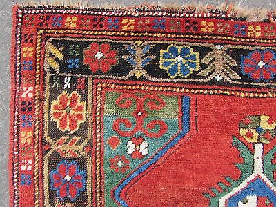 Antique Traditional Hand Made Caucasian Rug Red Green Wool Oriental Rug 142x99cm 4