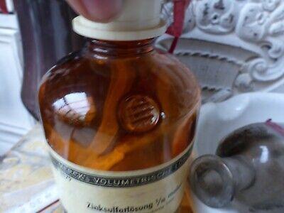 Konvolut alte Apotheker Sachen Tiegel & 3 Flaschen alte Merck antik Glas Flasche 10