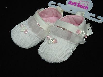 Schuhe Baby Ballarinas Ballerinas Taufe Feier 0- 3- 6- 12 Mon weiß mit Rose 5