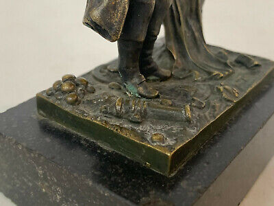 Antiguo 19th Siglo Bronce Napoleon Waterloo Figura / Estatua sobre Pizarra 8