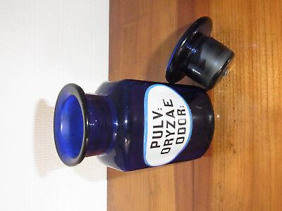 Seltene Apothekenflasche PULV: ORYZAE ODOR 19.Jh. Kobaltblau. 3