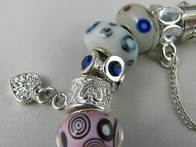 """SWEET 925 STAMPED SILVER 20cm EUROPEAN STYLE CHARM BRACELET """" MERRY PLAYGROUND """" 8"""