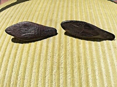 Antique Chinese Zitan? Wood 2 Dock Decoy Miniatur Figurines 4