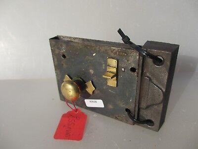 Victorian Iron Door Lock Antique Brass Bolt Handle Knob Old Bathroom? Georgian 4