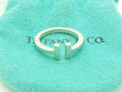 """Tiffany & Co. 925 Sterling Silver """"T"""" Square Ring Band Size 7 with Pouch 3"""