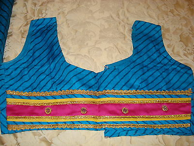 Ladies / Girls Striped Chiffon Saree With Contrasting Border And Blouse 8