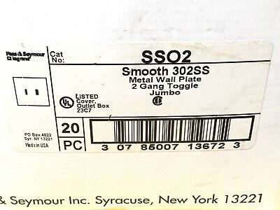 NEW BOX of (18) PASS & SEYMOUR SSO2 STAINLESS 2-GANG SWITCH FINISH PLATES 2
