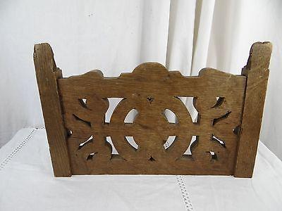 """14"" Antique French Oak Wood Carved Pediment Panel Ornament - Lions 7"
