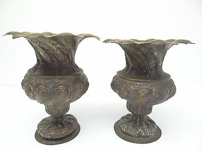 Antique Old Repoussé Hand Hammered Metal Copper Ornate Decorative Planters Urns