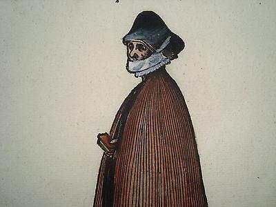 Jost Amman Tracht Leipzig Kirche  seltener alter kolorierter Holzschnitt 1577