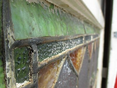 ~ ANTIQUE AMERICAN STAINED GLASS TRANSOM WINDOW 32 x 23.25 ARCHITECTURAL SALVAGE 7